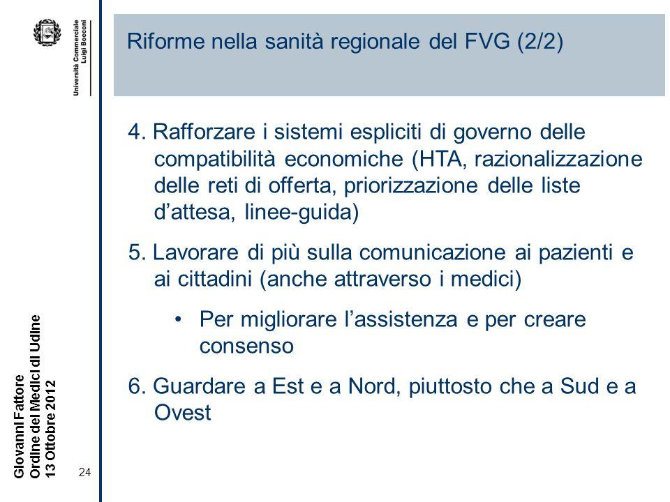 Riforme nella sanità regionale del FVG (2/2)