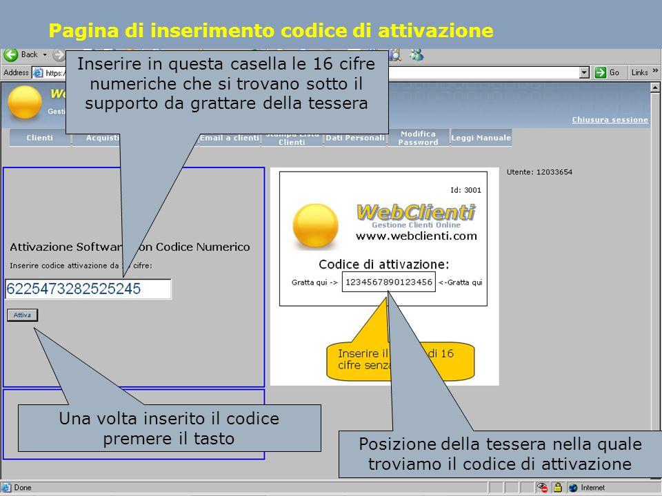 Pagina di inserimento codice di attivazione