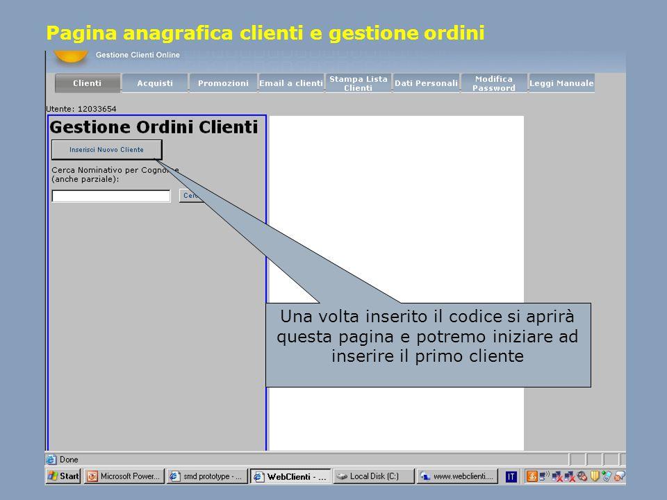 Pagina anagrafica clienti e gestione ordini