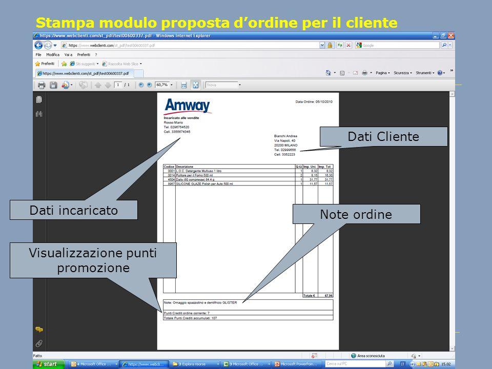 Stampa modulo proposta d'ordine per il cliente