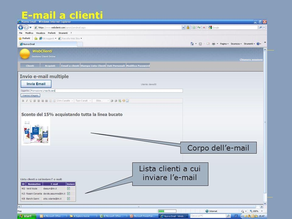 Lista clienti a cui inviare l'e-mail