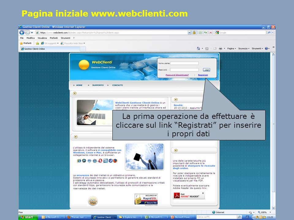 Pagina iniziale www.webclienti.com