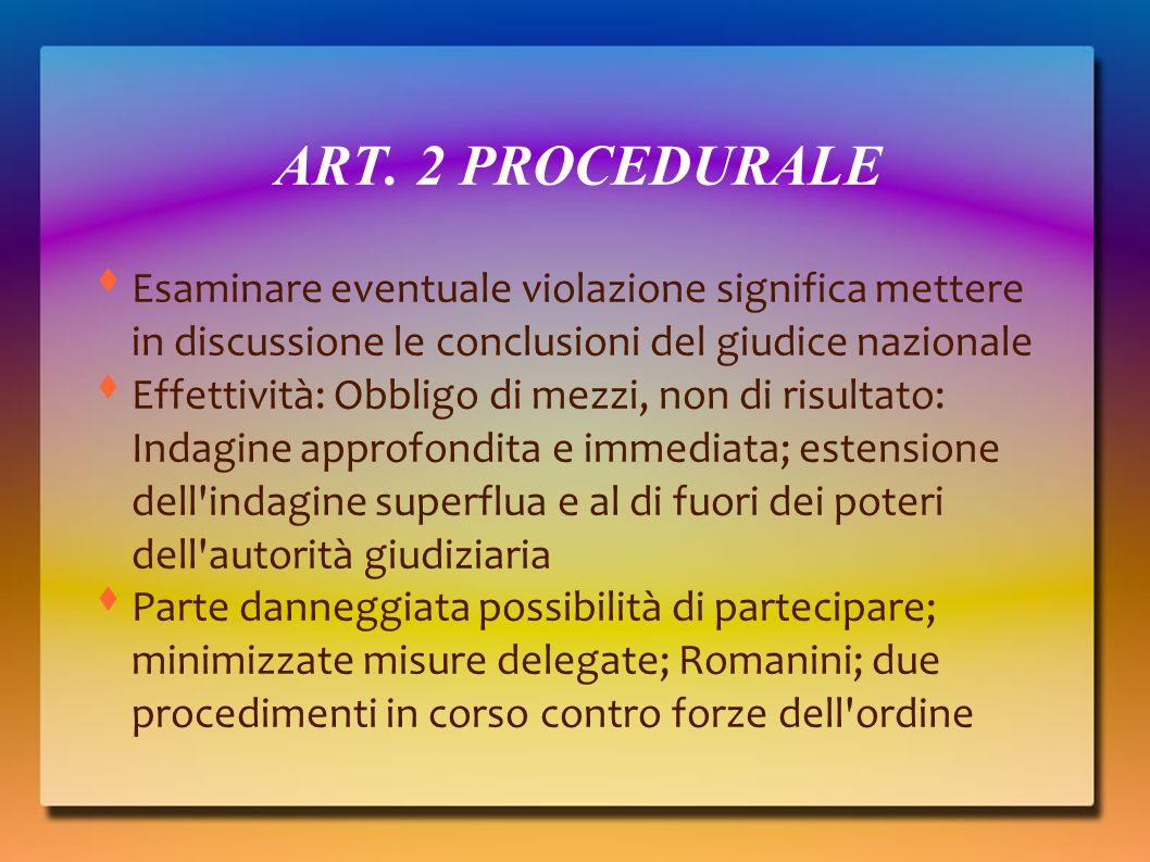 ART. 2 PROCEDURALE Esaminare eventuale violazione significa mettere in discussione le conclusioni del giudice nazionale.