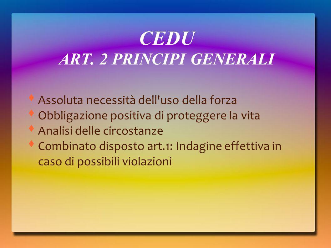 CEDU ART. 2 PRINCIPI GENERALI