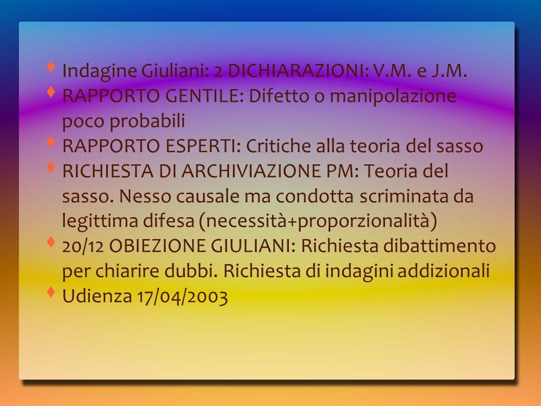 Indagine Giuliani: 2 DICHIARAZIONI: V.M. e J.M.