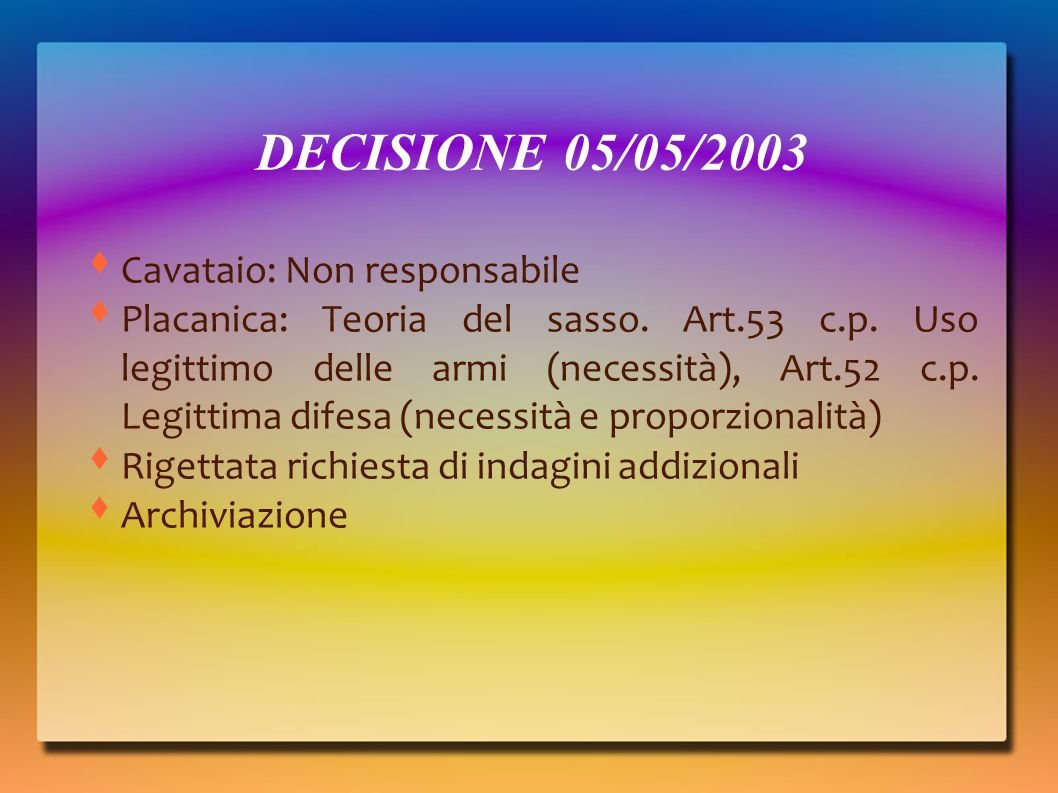 DECISIONE 05/05/2003 Cavataio: Non responsabile