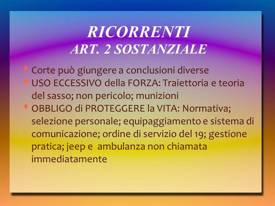 RICORRENTI ART. 2 SOSTANZIALE
