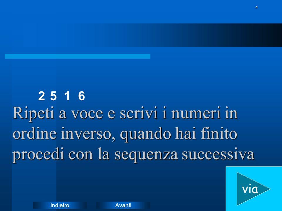 2 5. 1. 6. Ripeti a voce e scrivi i numeri in ordine inverso, quando hai finito procedi con la sequenza successiva.
