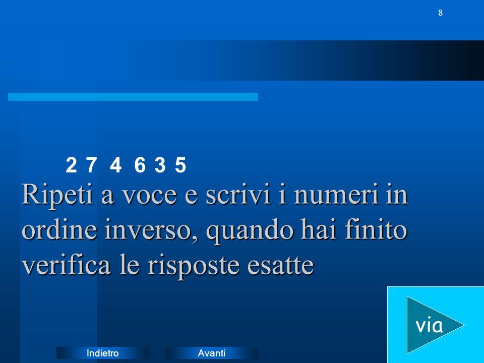 2 7. 4. 6. 3. 5. Ripeti a voce e scrivi i numeri in ordine inverso, quando hai finito verifica le risposte esatte.