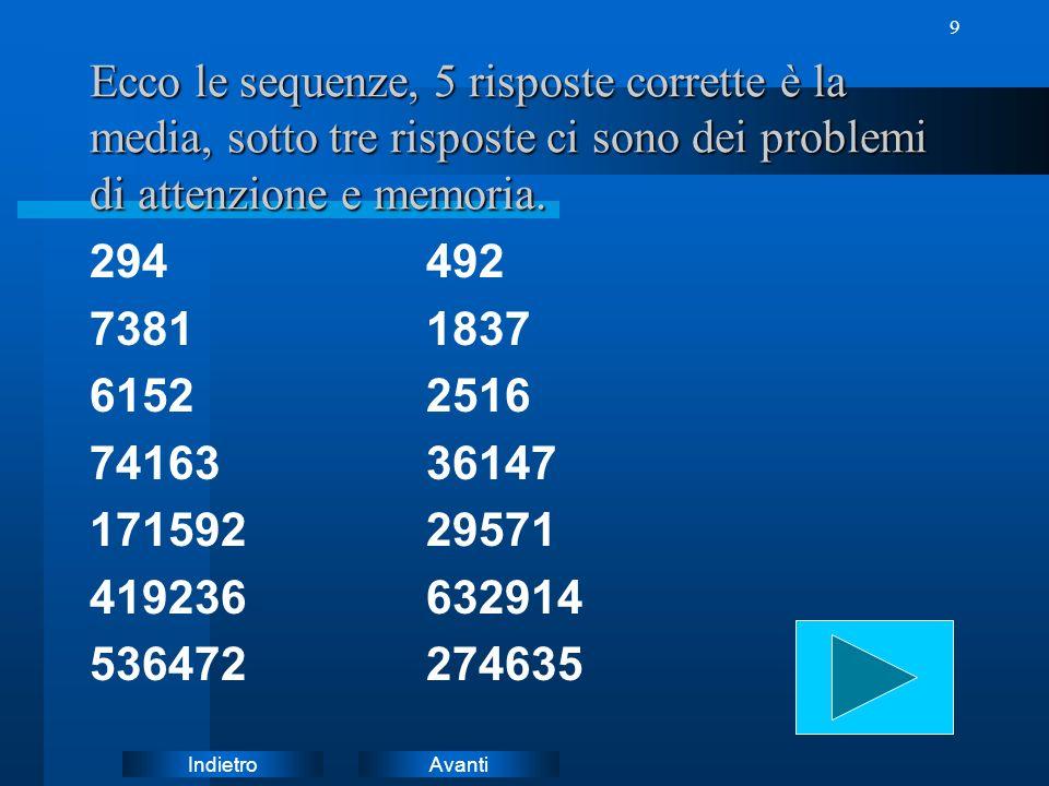 Ecco le sequenze, 5 risposte corrette è la media, sotto tre risposte ci sono dei problemi di attenzione e memoria.