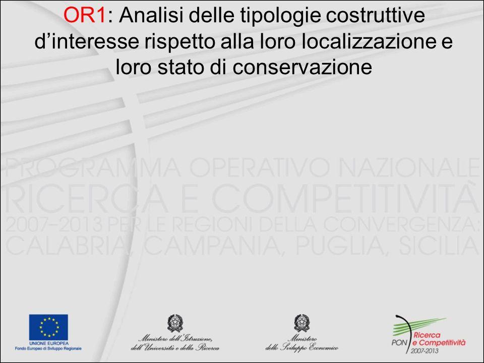 OR1: Analisi delle tipologie costruttive d'interesse rispetto alla loro localizzazione e loro stato di conservazione