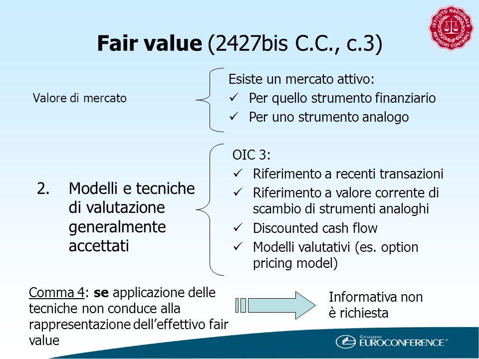 Fair value (2427bis C.C., c.3) Esiste un mercato attivo: Per quello strumento finanziario. Per uno strumento analogo.