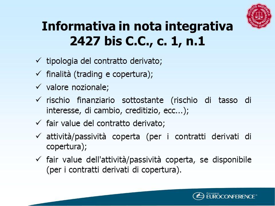 Informativa in nota integrativa 2427 bis C.C., c. 1, n.1