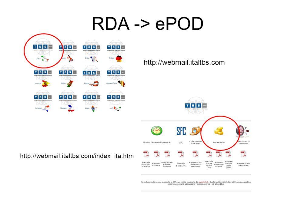 RDA -> ePOD http://webmail.italtbs.com
