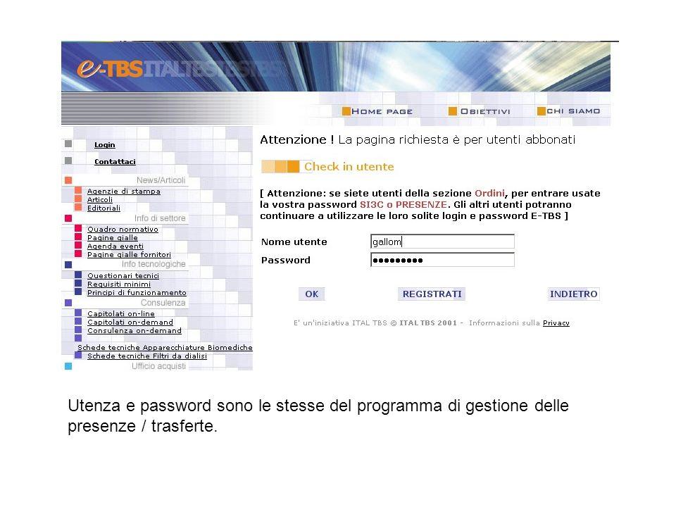 Utenza e password sono le stesse del programma di gestione delle presenze / trasferte.