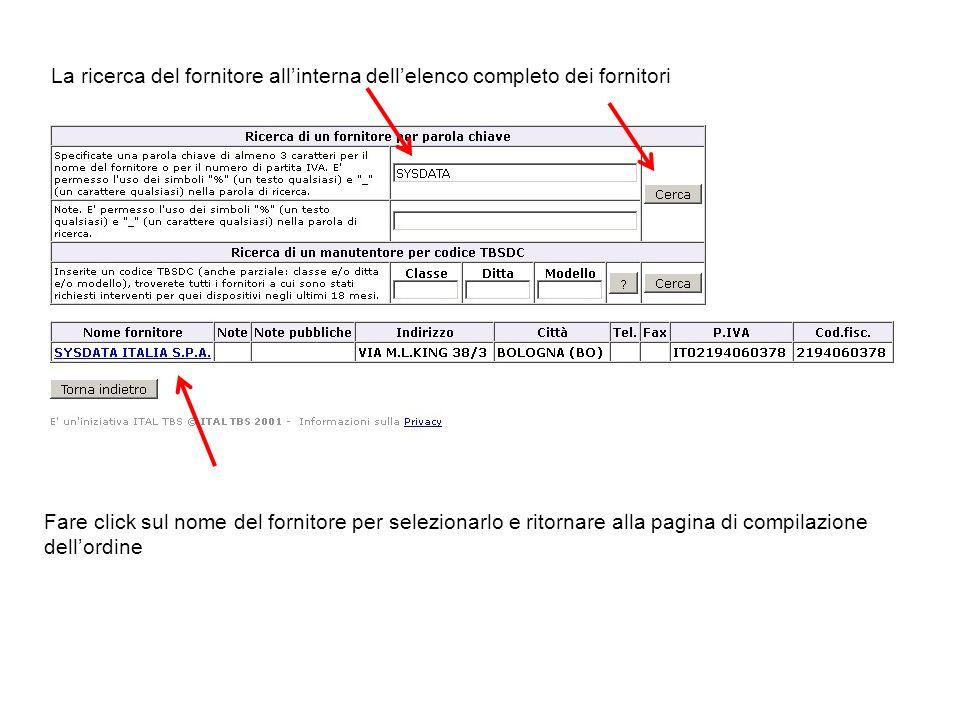 La ricerca del fornitore all'interna dell'elenco completo dei fornitori