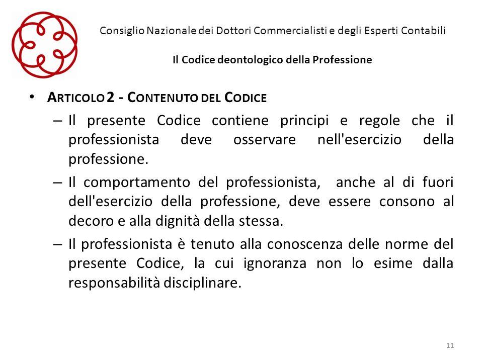 Articolo 2 - Contenuto del Codice