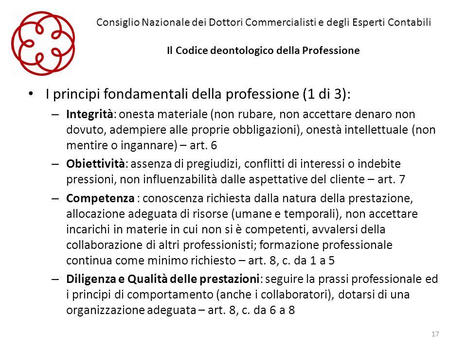 I principi fondamentali della professione (1 di 3):