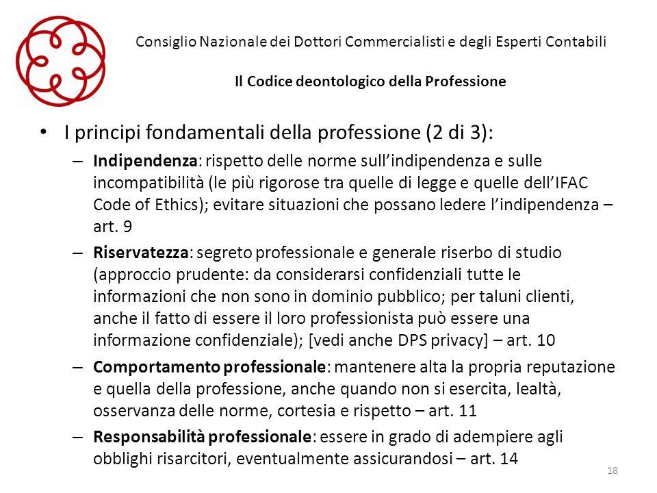 I principi fondamentali della professione (2 di 3):