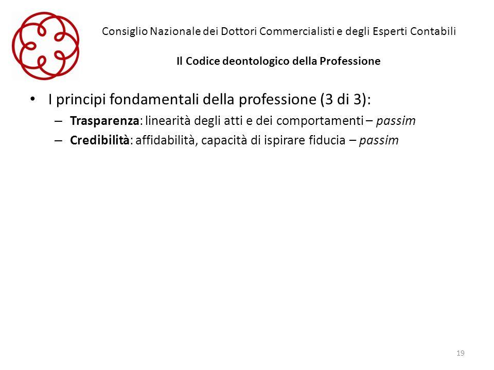 I principi fondamentali della professione (3 di 3):