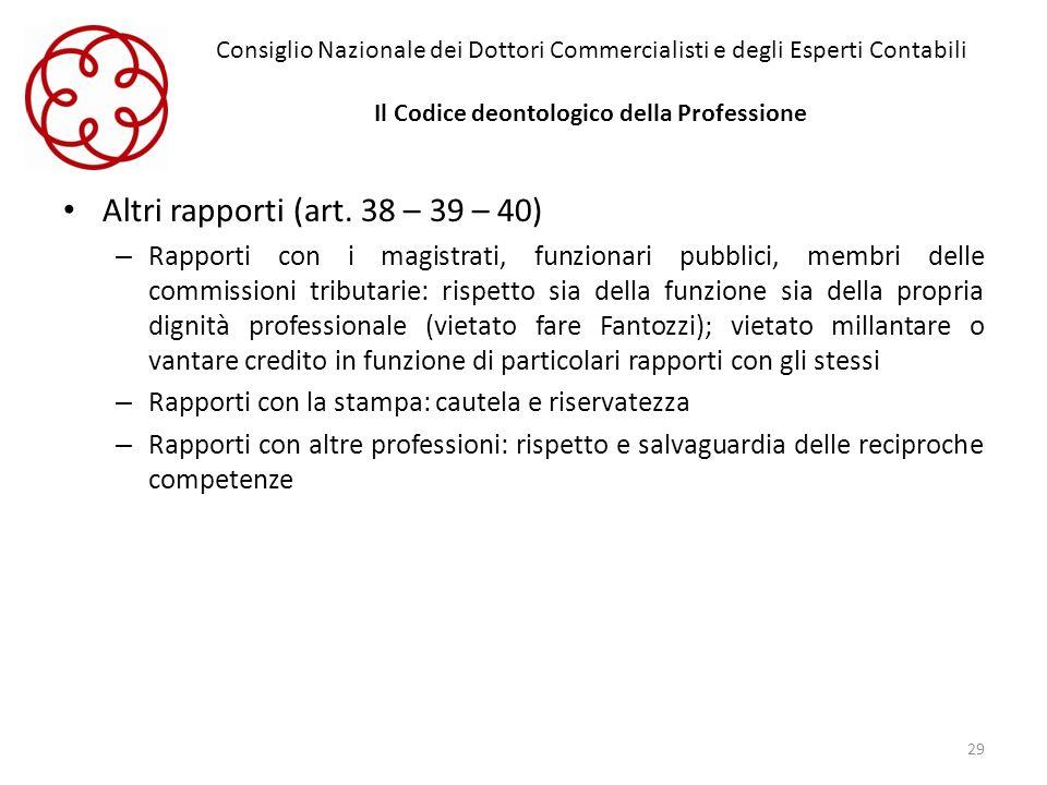 Altri rapporti (art. 38 – 39 – 40)