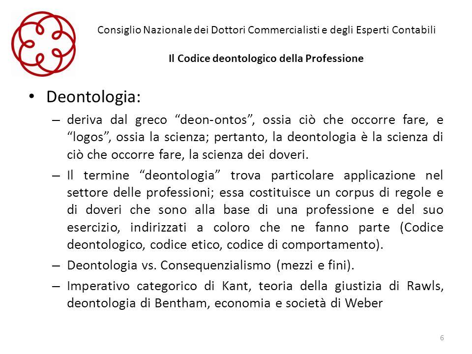 Consiglio Nazionale dei Dottori Commercialisti e degli Esperti Contabili Il Codice deontologico della Professione