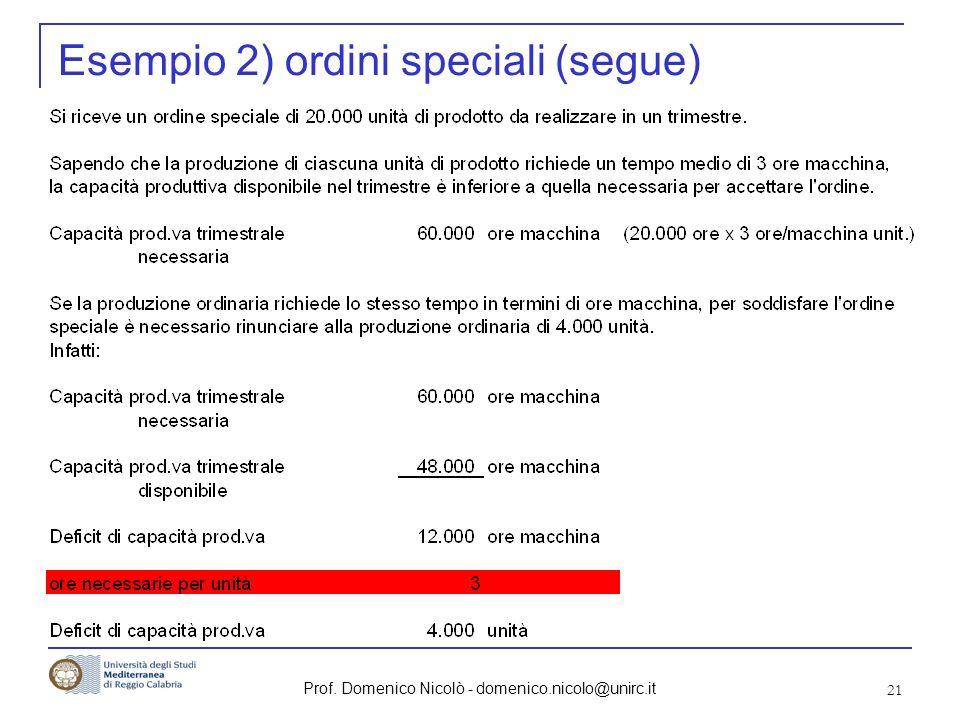 Esempio 2) ordini speciali (segue)