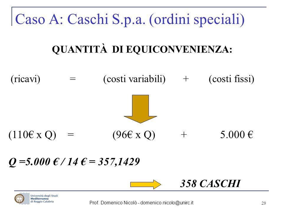 Caso A: Caschi S.p.a. (ordini speciali)