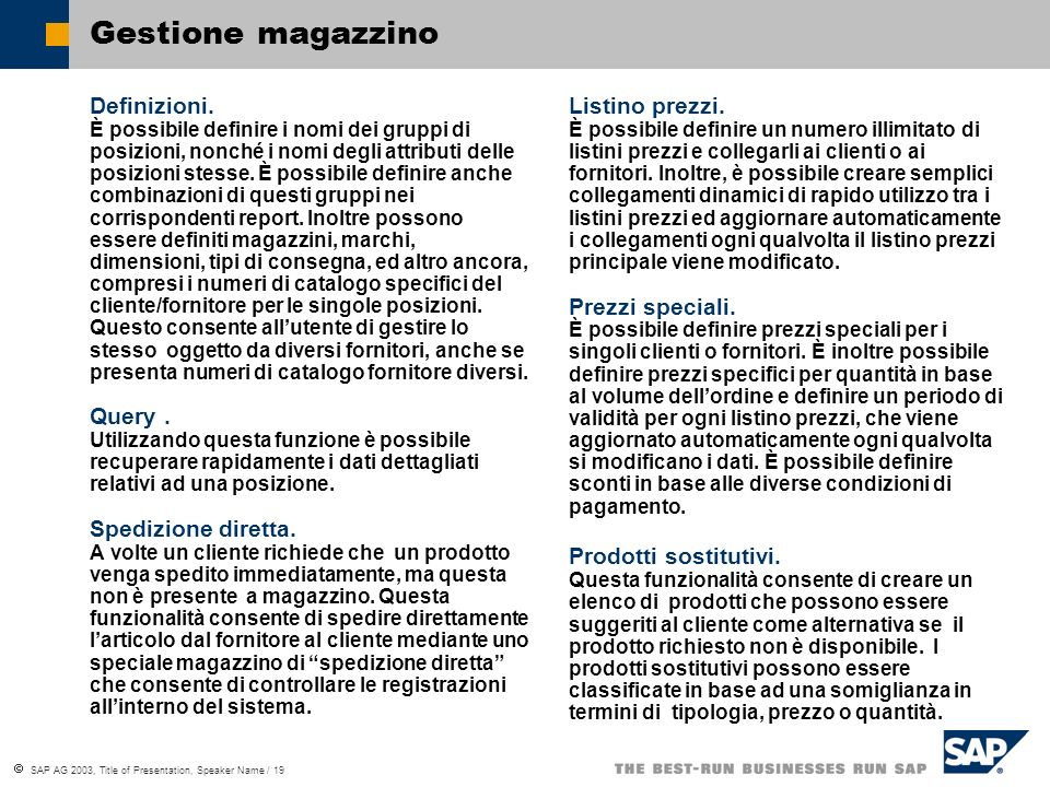 Gestione magazzino