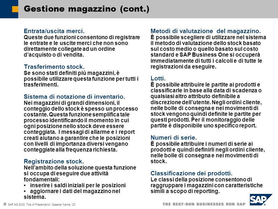 Gestione magazzino (cont.)