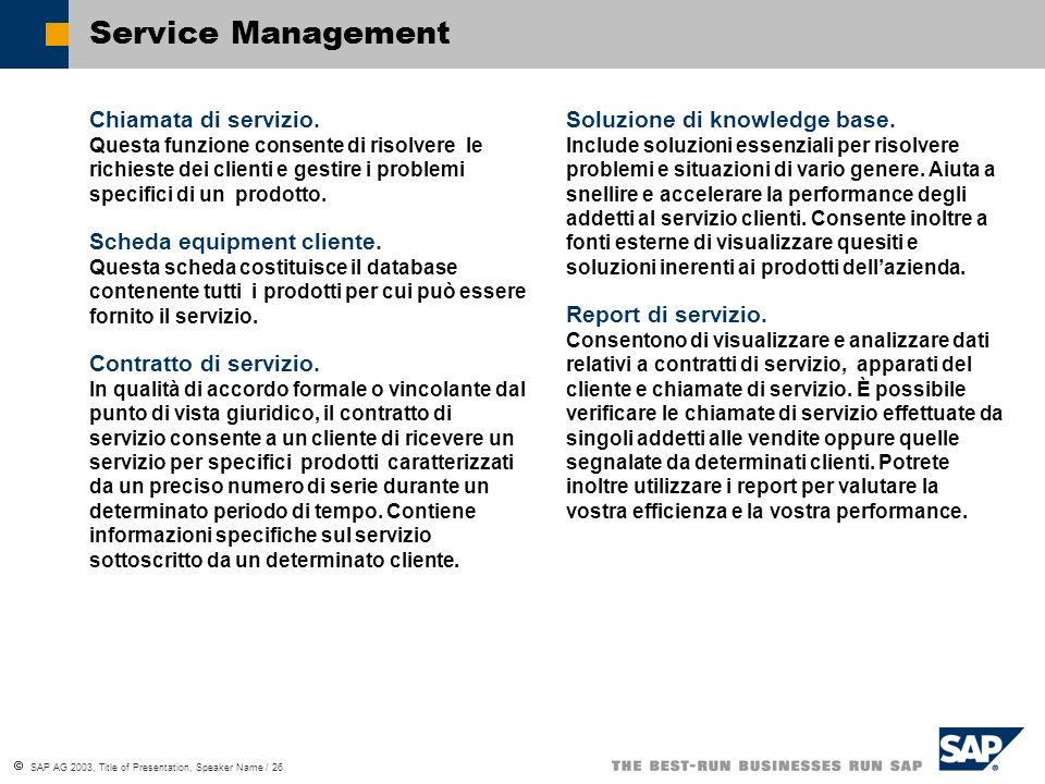Service Management