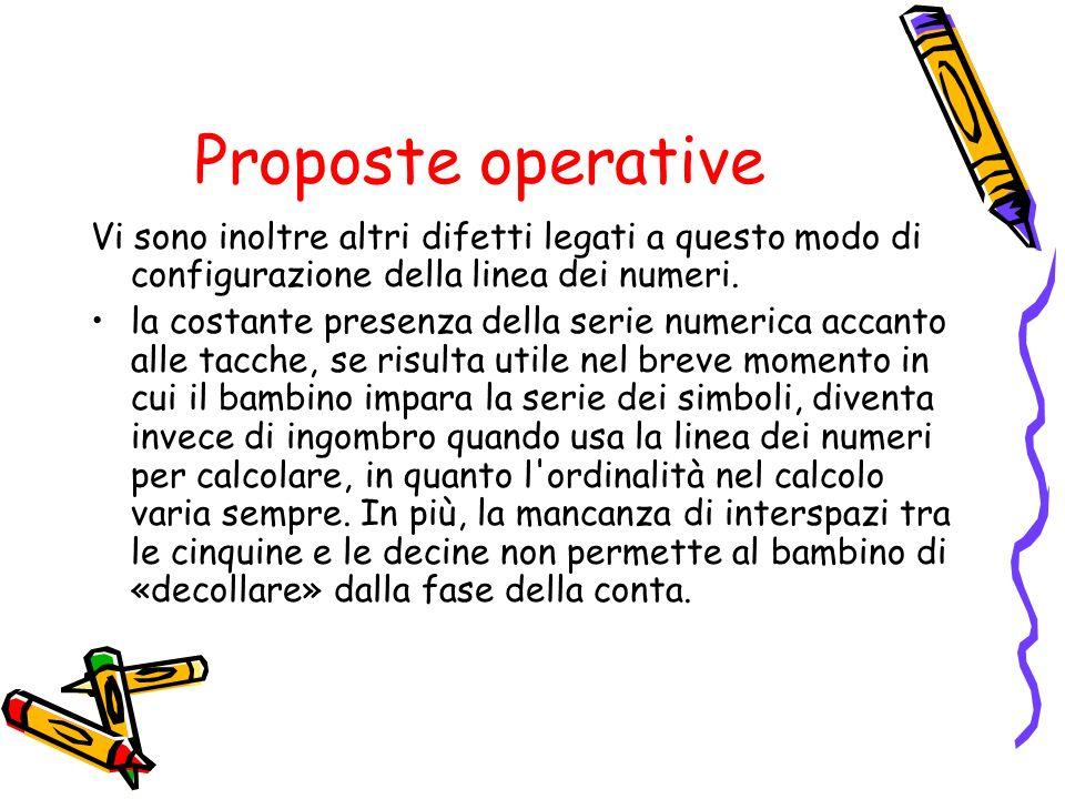 Proposte operative Vi sono inoltre altri difetti legati a questo modo di configurazione della linea dei numeri.