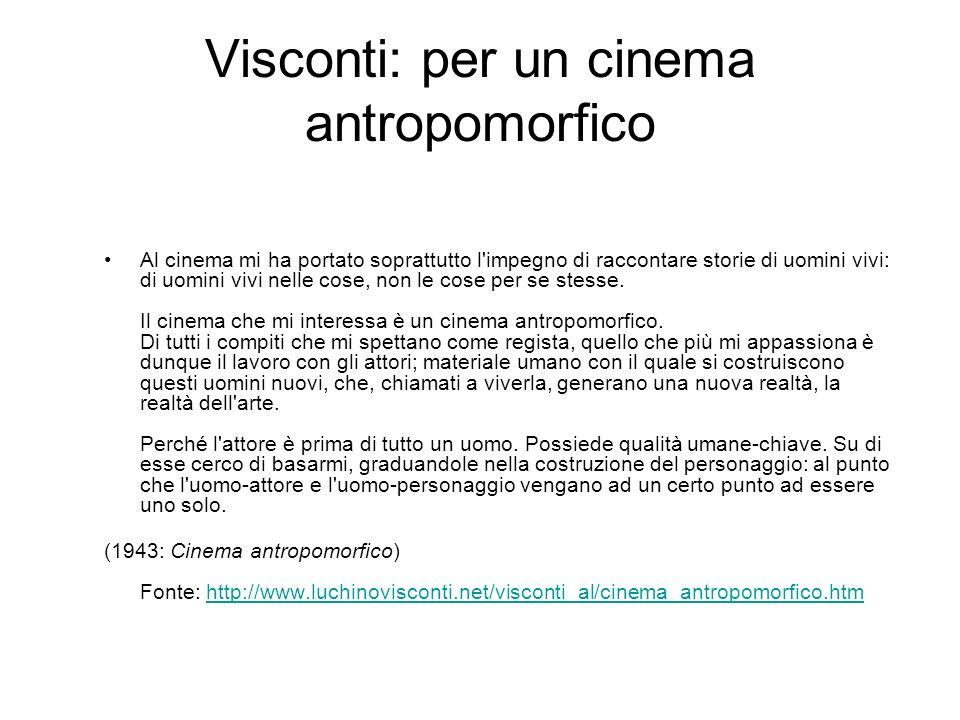 Visconti: per un cinema antropomorfico