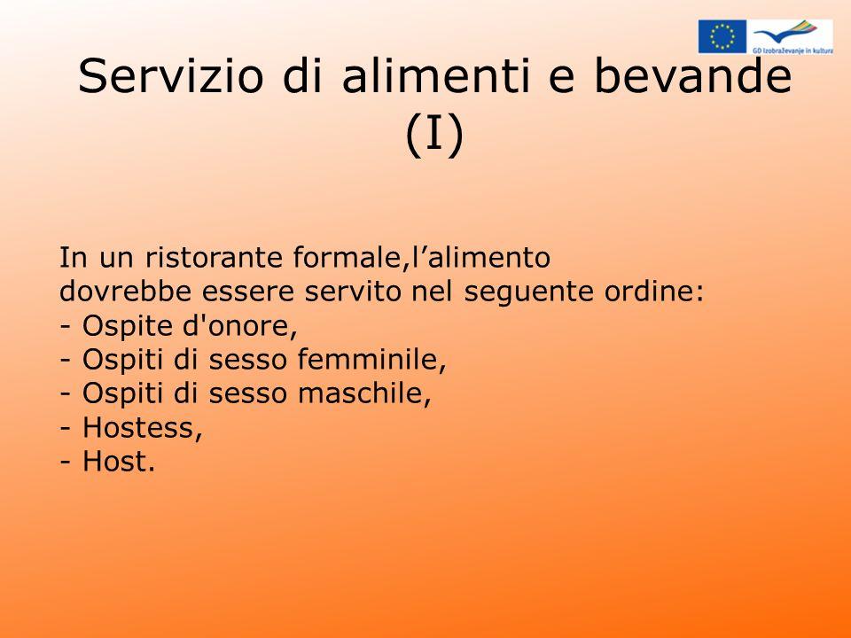 Servizio di alimenti e bevande (I)
