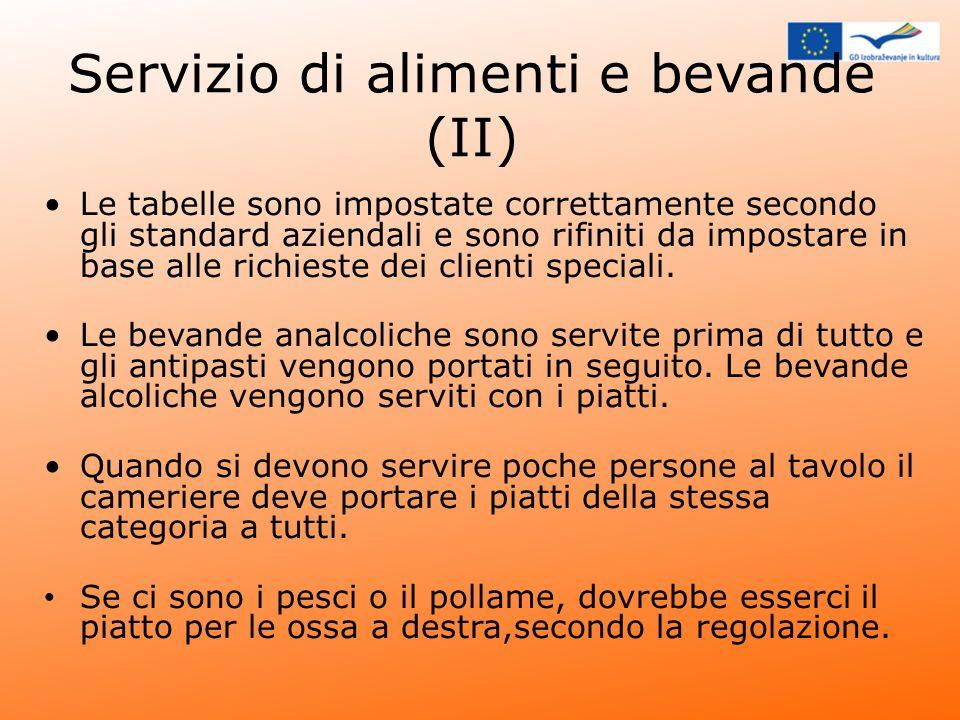 Servizio di alimenti e bevande (II)