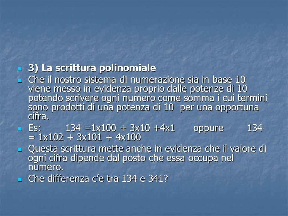 3) La scrittura polinomiale