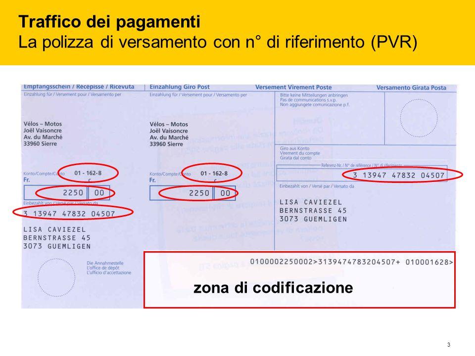 Traffico dei pagamenti La polizza di versamento con n° di riferimento (PVR)