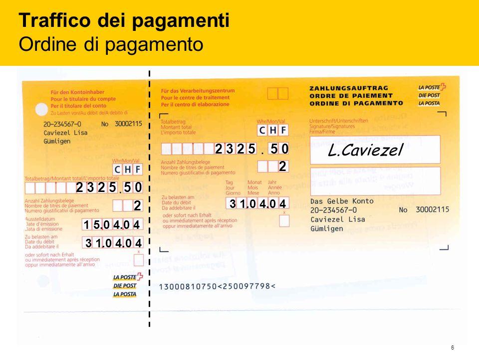 Traffico dei pagamenti Ordine di pagamento