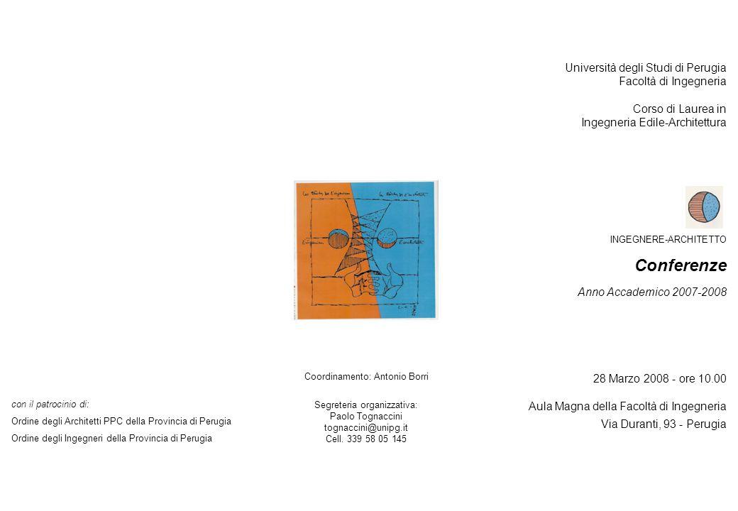 Conferenze Università degli Studi di Perugia Facoltà di Ingegneria