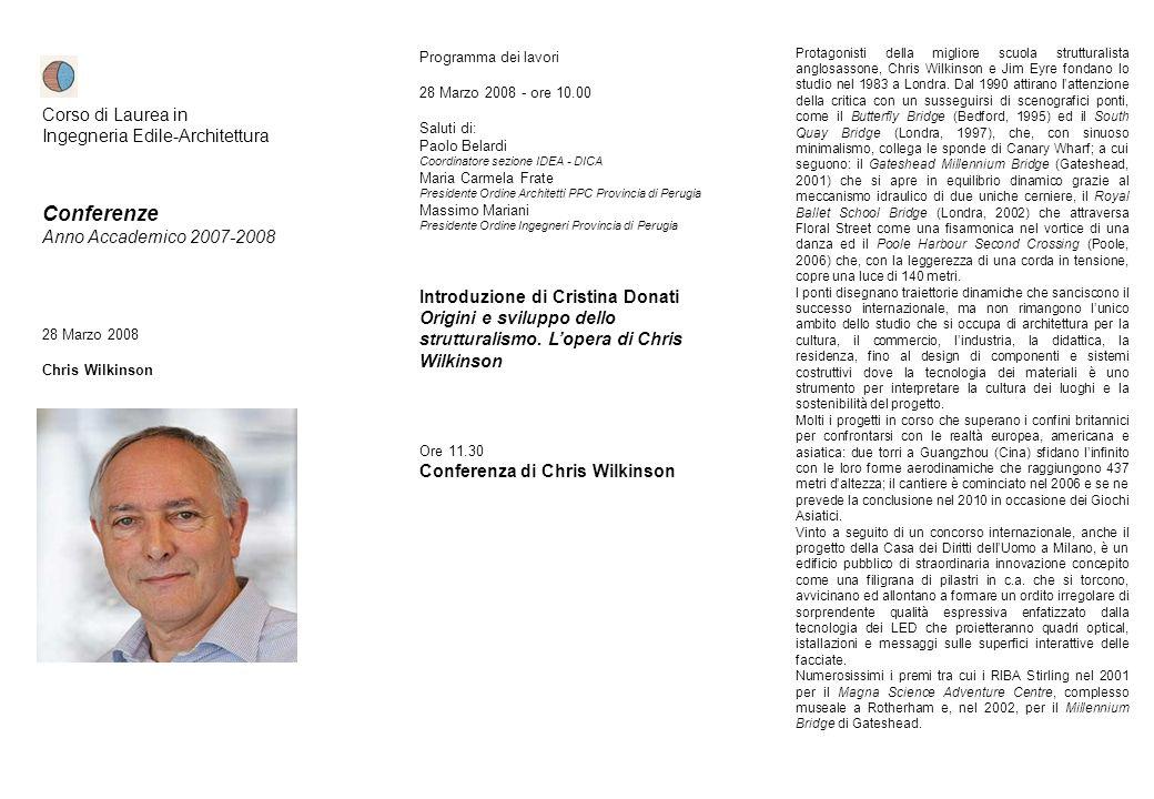 Conferenze Corso di Laurea in Ingegneria Edile-Architettura