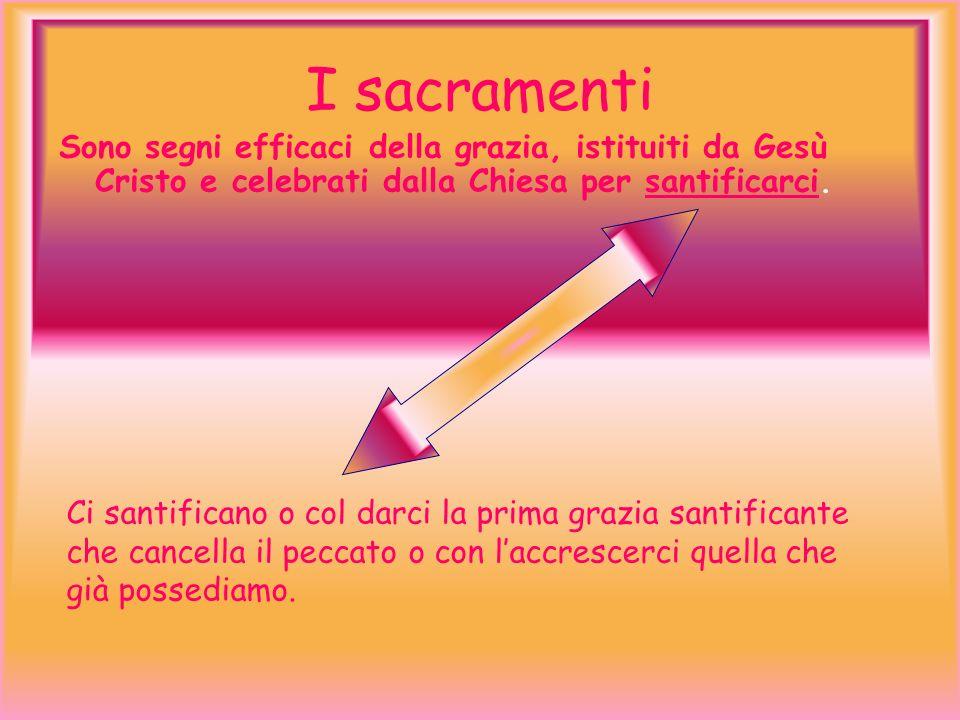 I sacramentiSono segni efficaci della grazia, istituiti da Gesù Cristo e celebrati dalla Chiesa per santificarci.