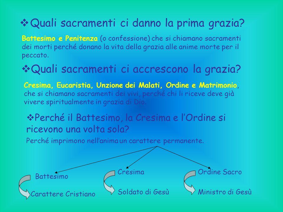 Quali sacramenti ci danno la prima grazia