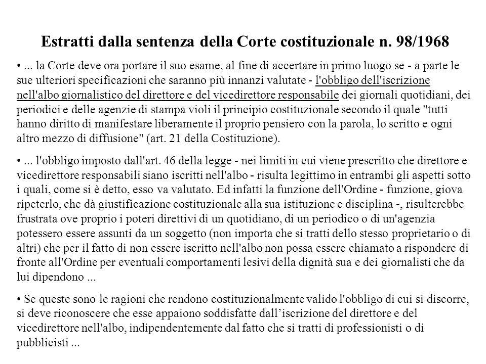 Estratti dalla sentenza della Corte costituzionale n. 98/1968