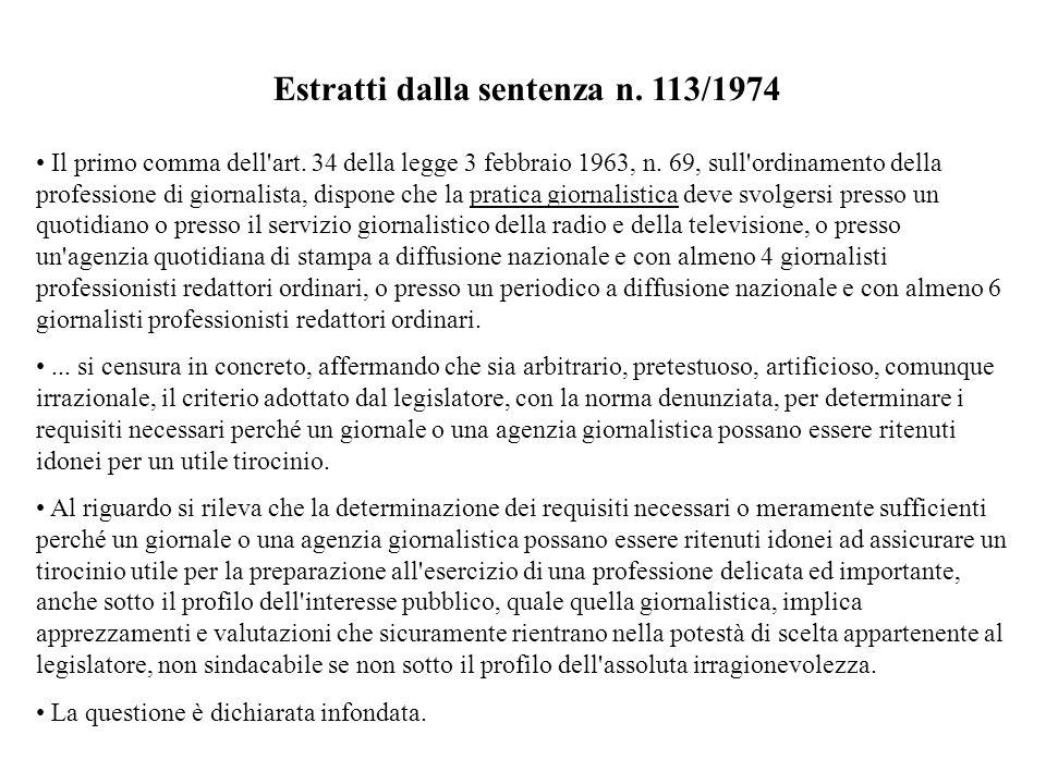 Estratti dalla sentenza n. 113/1974