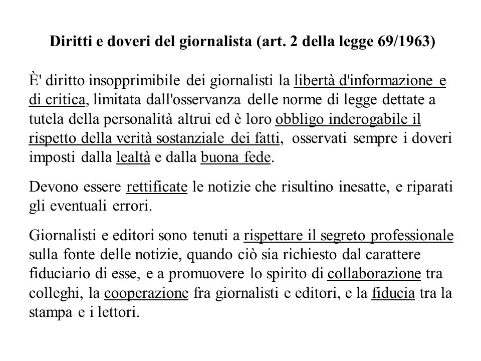 Diritti e doveri del giornalista (art. 2 della legge 69/1963)