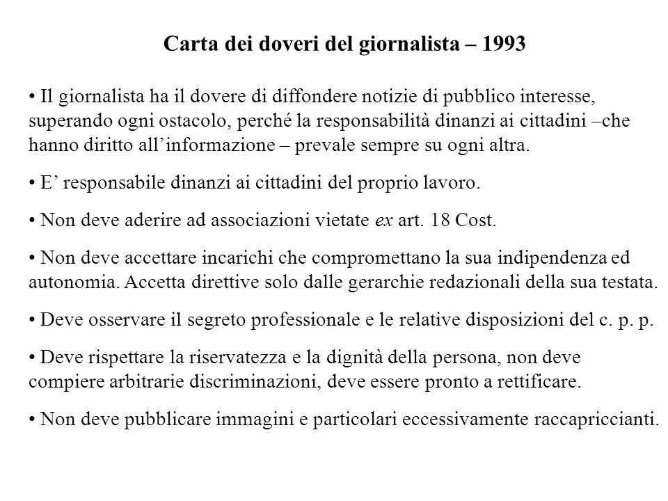Carta dei doveri del giornalista – 1993