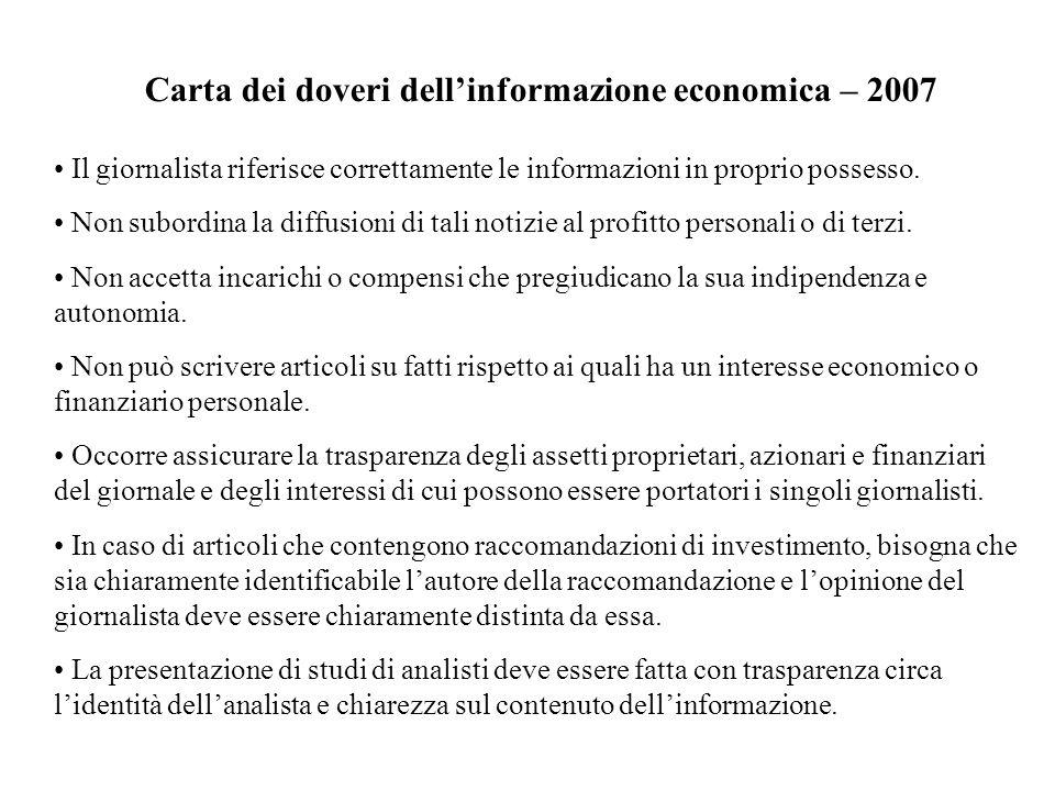 Carta dei doveri dell'informazione economica – 2007