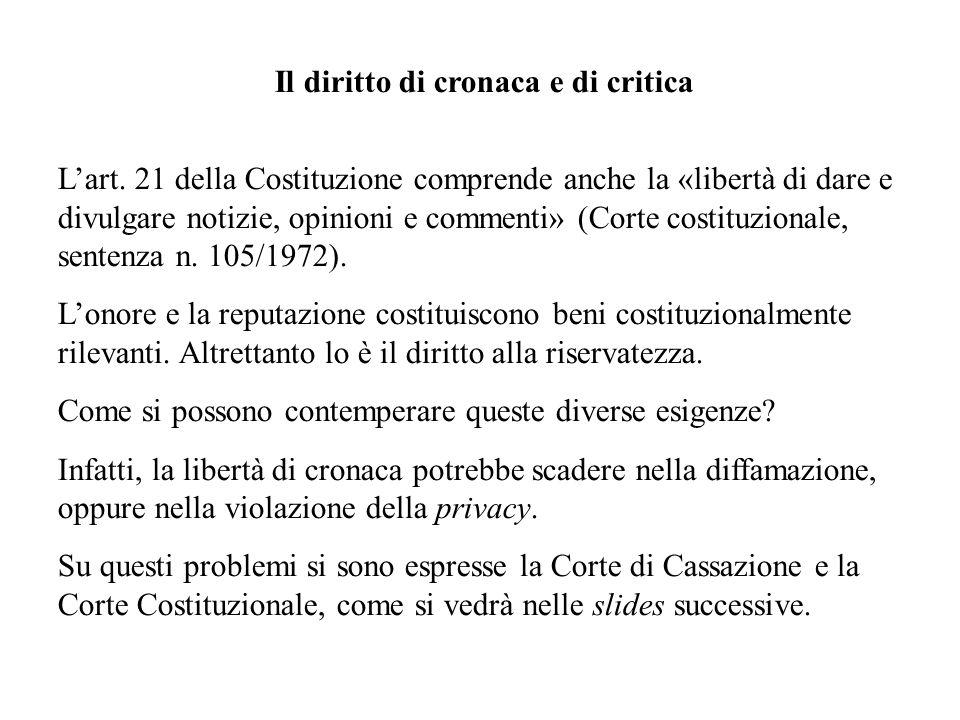 Il diritto di cronaca e di critica