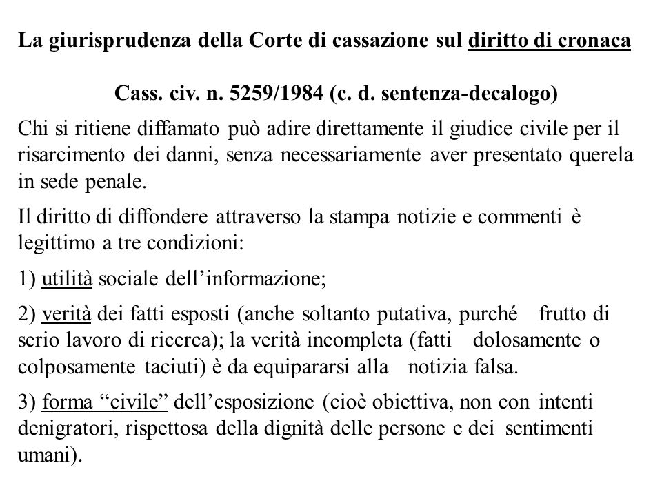 Cass. civ. n. 5259/1984 (c. d. sentenza-decalogo)