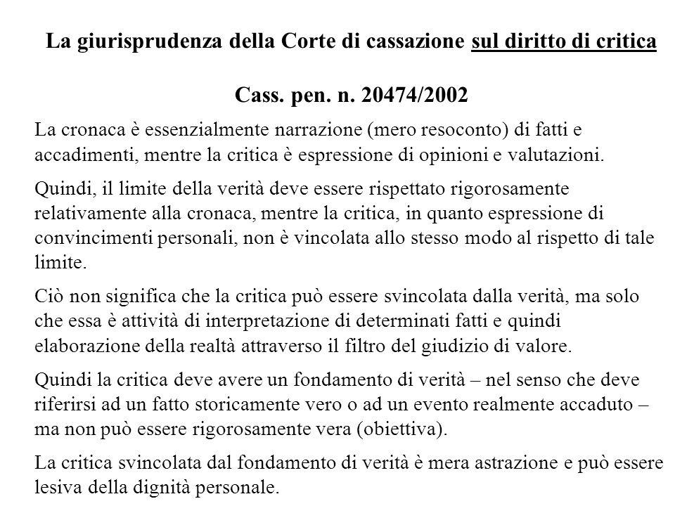 La giurisprudenza della Corte di cassazione sul diritto di critica